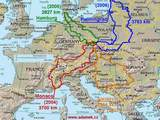 Map of 4 journeys through Europe on bicycle with bags